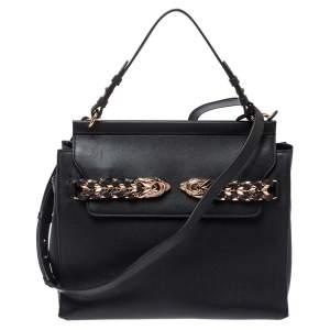 Roberto Cavalli Black Leather Onewish Top Handle Bag