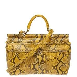 Roberto Cavalli Yellow Python Doctor Diva Top Handle Bag