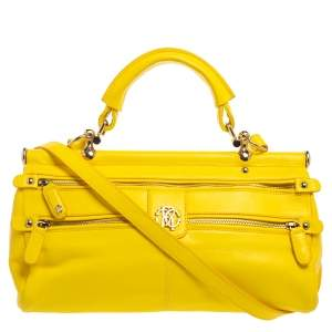 Roberto Cavalli Yellow Leather Mini Diva Crossbody Bag