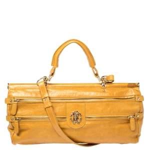 Roberto Cavalli Mustard Yellow Leather Mini Diva Top Handle Bag