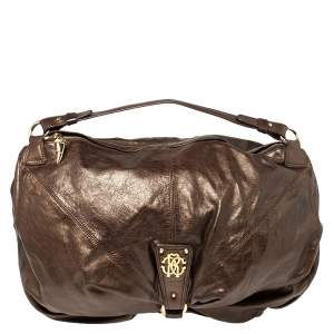 Roberto Cavalli Metallic Brown Leather RC Logo Hobo