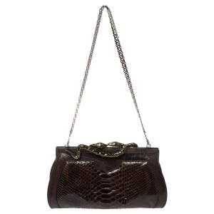 Roberto Cavalli Brown Python Leather Clutch Bag