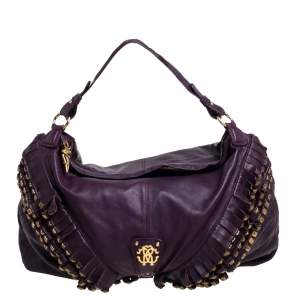 Roberto Cavalli Purple Leather Studded Fringe Hobo