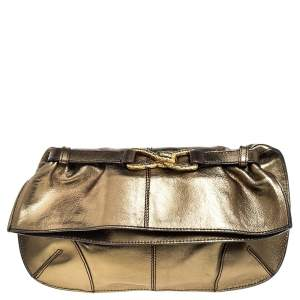Roberto Cavalli Olive Green Leather Fold Over Clutch