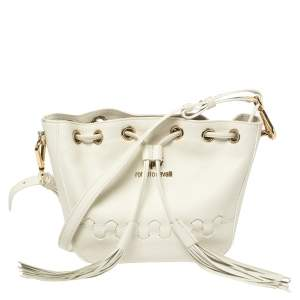 Roberto Cavalli White Leather Drawstring Tassel Shoulder Bag