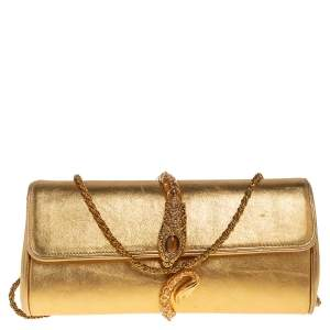 Roberto Cavalli Gold Leather Serpent Clasp Chain Clutch