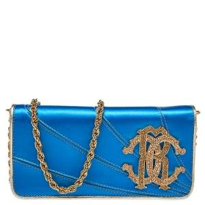Roberto Cavalli Blue Satin and Leather Logo Embellished Chain Clutch