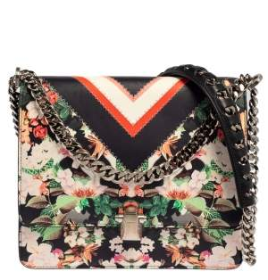 Roberto Cavalli Multicolor Floral Print Leather Shoulder Bag