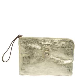 Roberto Cavalli Metallic Gold Leather Clutch