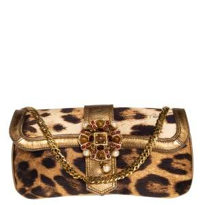 Roberto Cavalli Brown/Gold Leopard Print Satin and Leather Chain Clutch