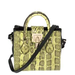Roberto Cavalli Green/Black Snakeskin and Leather Crossbody Bag