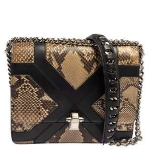 Roberto Cavalli Beige/Black Snakeskin and Leather Hera Flap Shoulder Bag