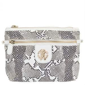 حقيبة صغيرة روبرتو كافالي جلد أبيض مثقب