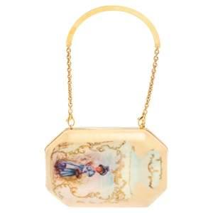 Roberto Cavalli Beige Satin 18th Century Porcelain Print Chain Clutch