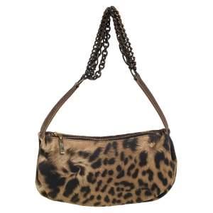 Roberto Cavalli Brown/Gold Fabric Small Animal Print Multi Chain Shoulder Bag