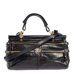 Roberto Cavalli Black Deerskin Leather Top Handle Bag