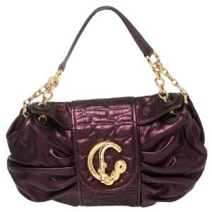 Roberto Cavalli Metallic Purple Pleated Leather Shoulder Bag