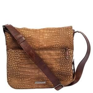 Roberto Cavalli Brown Croc Embossed Leather Messenger Bag