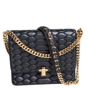 Roberto Cavalli Black Python Quilted Leather Crossbody Bag