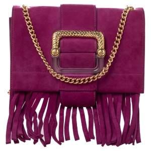 Roberto Cavalli Pink Suede Fringe Chain Shoulder Bag