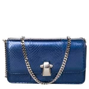 Roberto Cavalli Blue Python Embossed Leather Flap Shoulder Bag