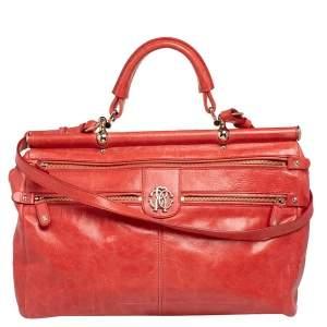 Roberto Cavalli Orange Leather Multiple Pocket Top Handle Bag