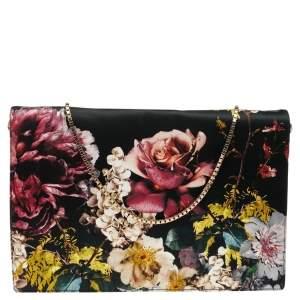 Roberto Cavalli Black Floral Print Satin Shoulder Bag