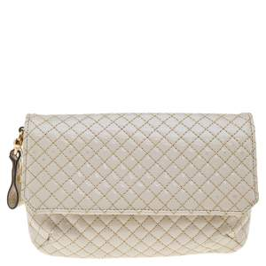 Roberto Cavalli Beige Quilted Patent Leather Clutch