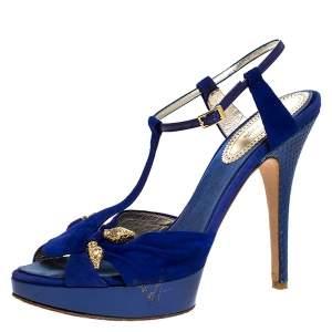 Roberto Cavalli Blue Suede Leather Platform Ankle Strap Sandals Size 39.5