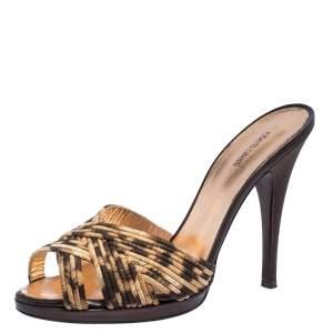 Roberto Cavalli Leopard Print Satin Open Toe Platform Sandals Size 40
