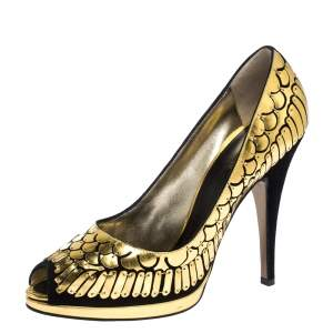 Roberto Cavalli Gold/Black Suede Leather Fish Scale Peep Toe Platform Pumps Size 40