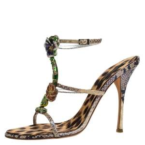 Roberto Cavalli Multicolor Python Metal Snake And Orchid Embellished Slingback Sandals Size 41