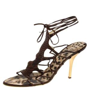 Roberto Cavalli Brown Python Lace Up Ankle Tie Sandals Size 40