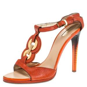 Roberto Cavalli Orange Leather Metal Embellished Ankle Strap Sandals Size 39