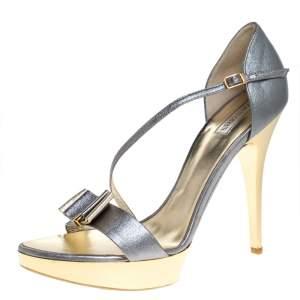 Roberto Cavalli Metallic Grey Leather Ankle Strap Platform Sandals Size 40