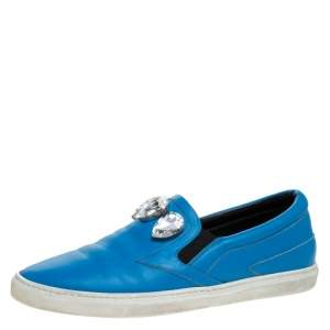 Roberto Cavalli Blue Leather Crystal Embellished Slip On Sneakers Size 38