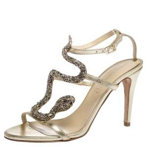 Roberto Cavalli Metallic Leather And Snake Detail Strappy Sandals Size 37.5
