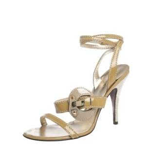 Roberto Cavalli Beige/Offwhite Patent And Raffia Buckle Embellished Ankle Wrap Sandals Size 39