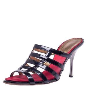 Roberto Cavalli Black Patent Leather Strappy Sandals Size 40