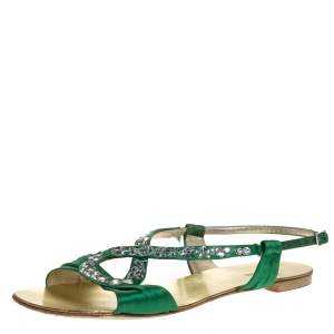 Roberto Cavalli Green Satin Crystal Embellished Ankle Strap Flat Sandals Size 38.5