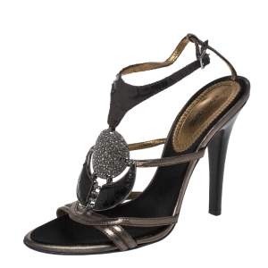 Roberto Cavalli Metallic Bronze/Brown Leather And Python Crystals Embellished Ankle Strap Sandals Size 38.5