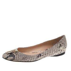 Roberto Cavalli Brown Python Padlock Detail Ballet Flats Size 40