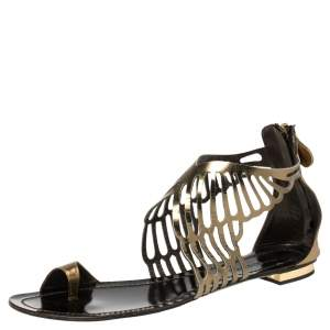 Roberto Cavalli Gold Cut Out Leather Toe Ring Flat Sandals Size 41