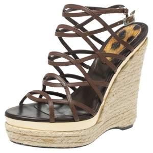 Roberto Cavalli Brown Leather Wedge Platform Espadrille Strappy Sandals Size 35