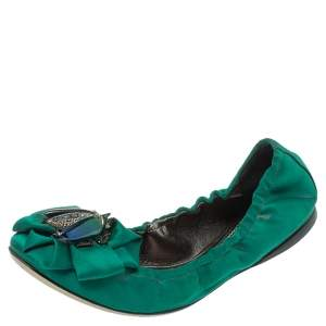 Roberto Cavalli Green Satin Bee Embellished Scrunch Ballet Flats Size 38
