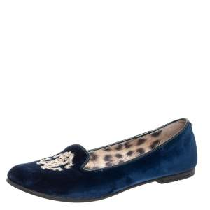 Roberto Cavalli Blue Velvet Ballet Flats Size 37