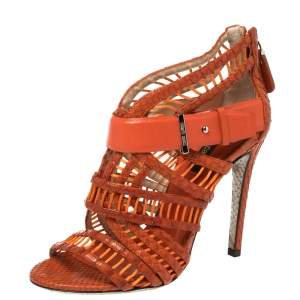 Roberto Cavalli Orange Python and Leather Cage Sandals Size 36