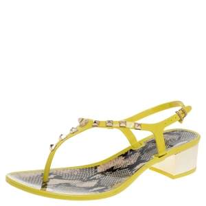 Roberto Cavalli Yellow Rubber Studded Thong Sandals Size 37