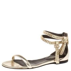 Roberto Cavalli Gold Leather Crystal Embellished Ankle Strap Flat Sandals Size 36