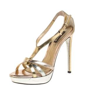 Roberto Cavalli Metallic Tricolor Leather T Strap Platform Sandals Size 38